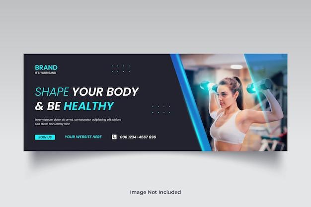 Copertina timeline facebook allenamento fitness e palestra o modello banner web social media