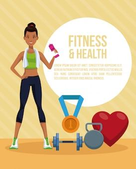 Fumetto della donna di forma fisica e di salute