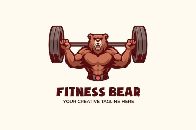 Modello di logo del personaggio della mascotte dello sport sano per il fitness