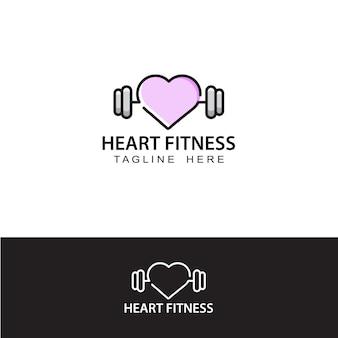 Modello di logo del cuore di fitness