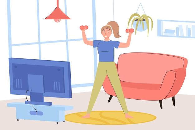 Concetto di fitness a casa donna felice che si esercita con i manubri e guarda la lezione video