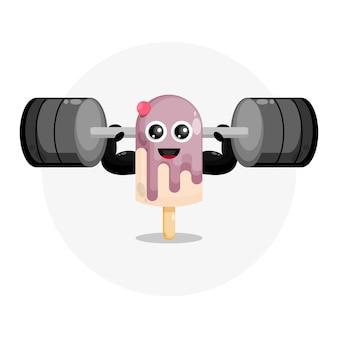 Logo di carattere carino gelato fitness