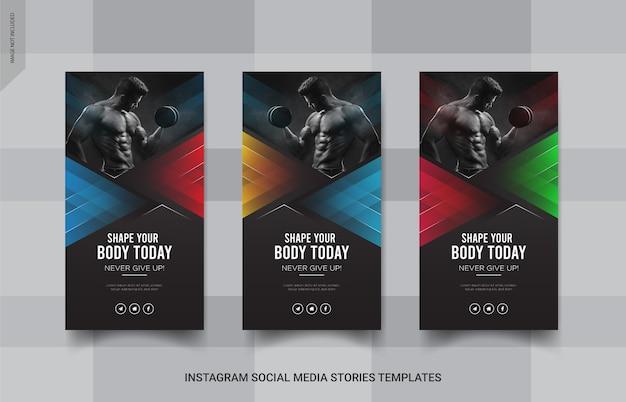 Modello di post sui social media banner di storie di fitness insgtagram