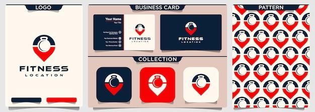 Posizione fitness con design del logo con manubri a spazio negativo