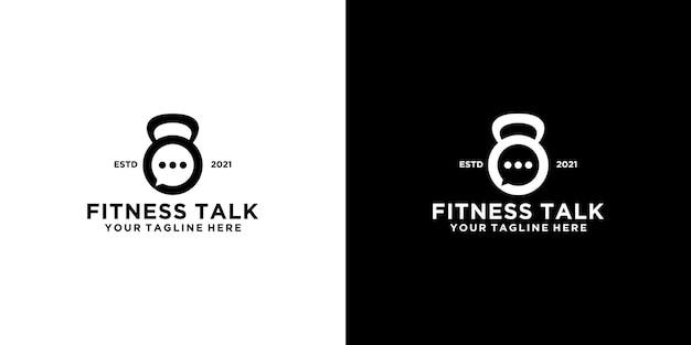Ispirazione per il design del logo fitness, bilanciere e icona del logo della chat e biglietto da visita