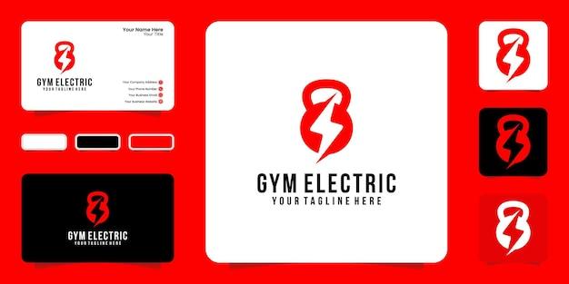 Ispirazione per il design del logo fitness con ispirazione per biglietti da visita con bilanciere ed elettricità