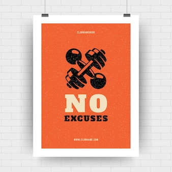 Modello di progettazione di citazione tipografica retrò poster motivazione fitness