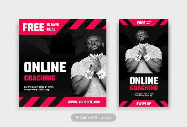 Fitness online coaching social media post e modello di progettazione della storia