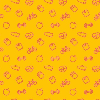 Modello di fitness, sfondo senza soluzione di continuità con icone di fitness rosse su giallo, illustrazione vettoriale
