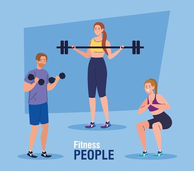 Banner di persone fitness, persone che praticano esercizi, esercizi di ricreazione sportiva