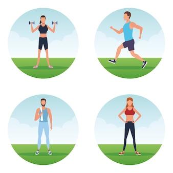 Persone fitness facendo exersice