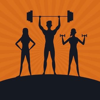 Sagoma di persone fitness