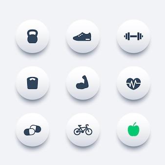 Icone moderne rotonde di fitness, illustrazione vettoriale