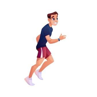 Uomo che corre fitness con il ragazzo sportivo di vettore del carattere di stile del fumetto isolato inseguitore della banda di forma fisica