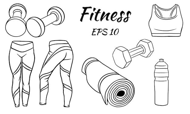 Insieme di forma fisica. vestiti, manubri e un tappetino per lo sport e lo yoga. illustrazione isolata per design e tipografia.