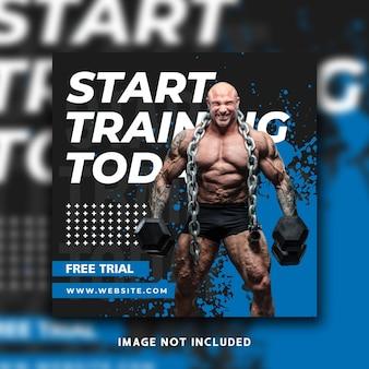 Fitness social media post instagram banner template design
