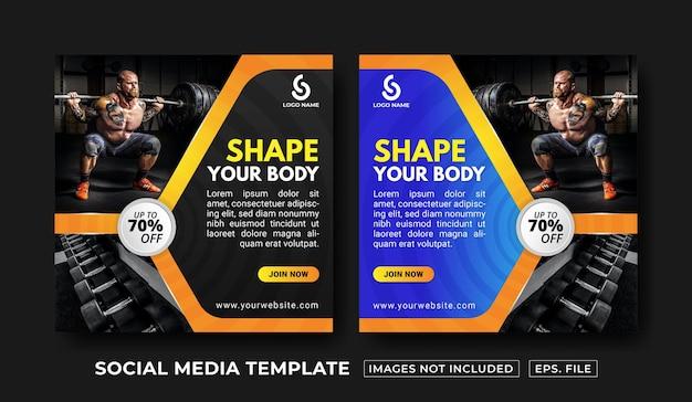 Modello di post sui social media fitness