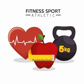 Fitness sport atletica cuore mela bilanciere