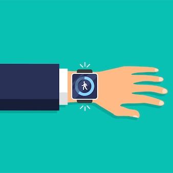 Passi di fitness e app tracker sul display dello smartwatch