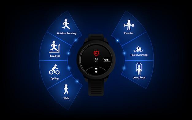Icona dell'interfaccia utente dell'interfaccia del tracker fitness, sfondo, contapassi sportivo, modello di orologio intelligente