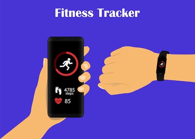 Inseguitore di fitness. gli smartwatch sono collegati con uno smartphone.