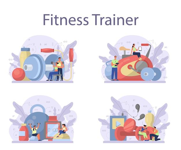Insieme di concetto di istruttore di fitness.