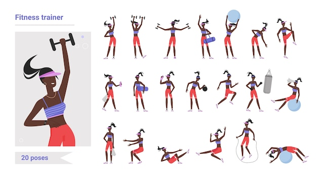 Allenatore di fitness palestra allenamento pone illustrazione set.