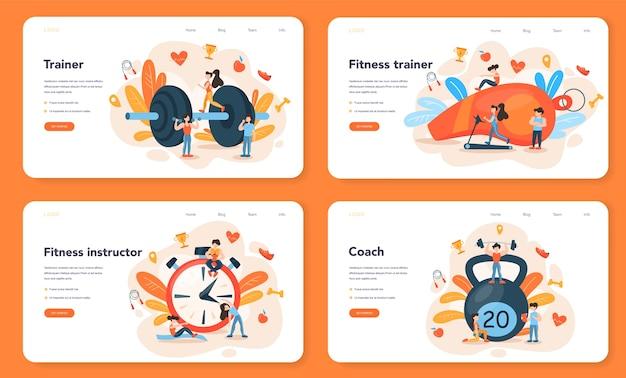 Banner web di fitness trainer o set di pagine di destinazione
