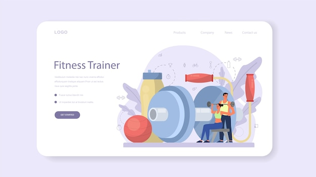 Banner web o pagina di destinazione dell'istruttore di fitness. allenamento in palestra con sportivo professionista. stile di vita sano e attivo. tempo per il fitness.