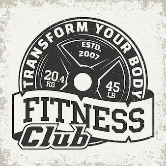 Emblema di tipografia fitness, logo sport palestra