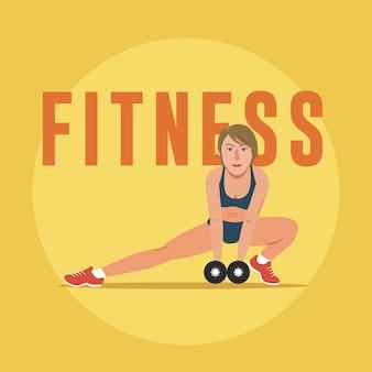 Donna di forma fisica che si esercita con i dumbbells