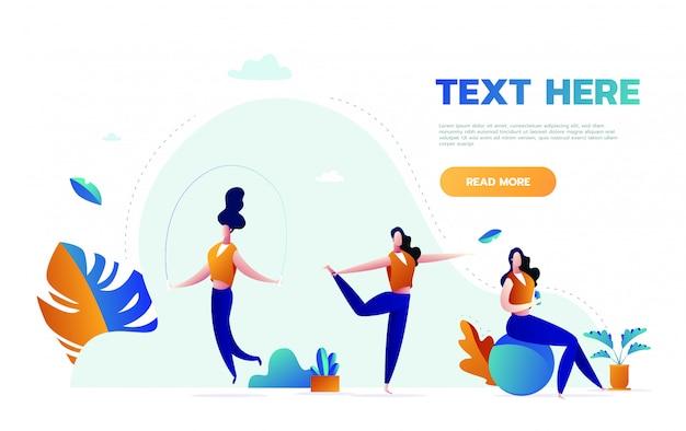 Donne di forma fisica in palestra, allenamento di ginnastica ed esercizi di yoga. persone di sport, salute e salto con la corda, illustrazione.