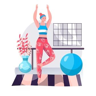 Concetto di allenamento fitness. donna che fa asana di yoga ed esegue la posa dell'equilibrio. sport attivo, benessere, allenamento del corpo, scena del personaggio di pilates. illustrazione vettoriale in design piatto con attività di persone