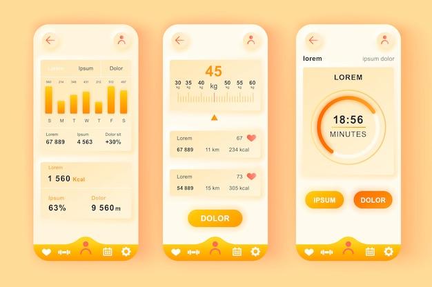 App mobile per l'interfaccia utente di design neumorfico moderno di allenamento fitness
