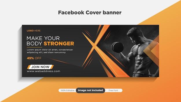 Modello di copertina di fitnessgym e banner web template