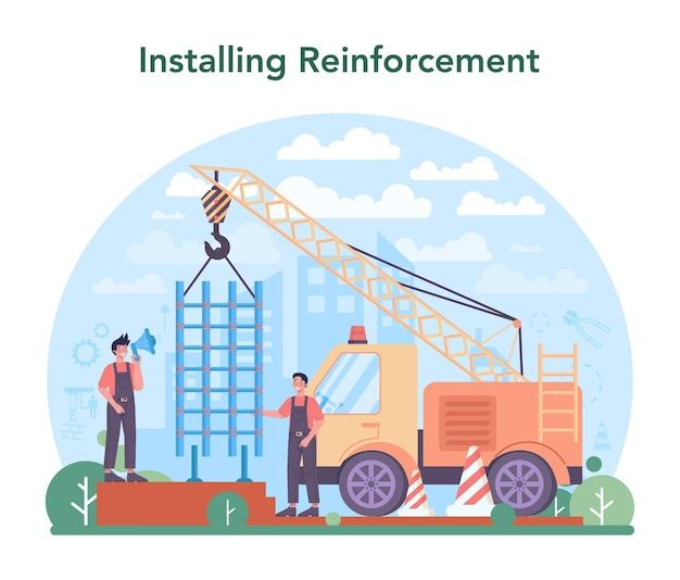Montatore che installa un costruttore industriale di rinforzo nel cantiere