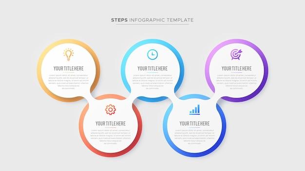 Cinque 5 passaggi opzioni business infographic design moderno modello