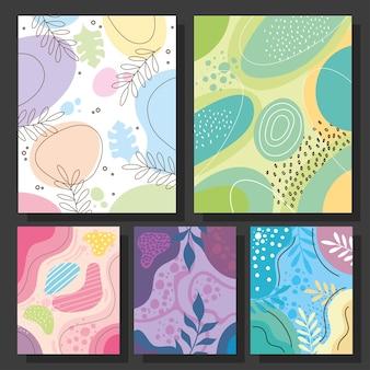 Cinque abstracs organics impostare forme sfondi illustrazione vettoriale design