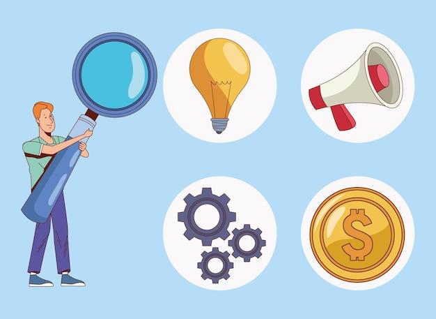 Cinque elementi di affari impostati Vettore Premium