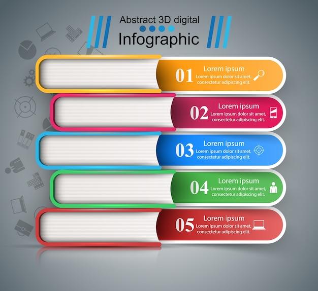 Cinque libri a colori - infografica di business.