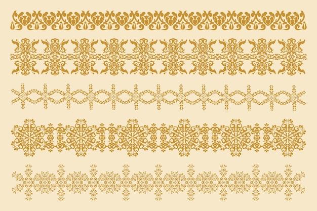 Cinque cornici decorative per la decorazione ornamenti damascati vettoriali elemento di design vettoriale