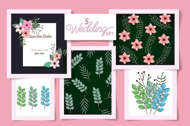 Cinque disegni con carta di invito a nozze e fiori