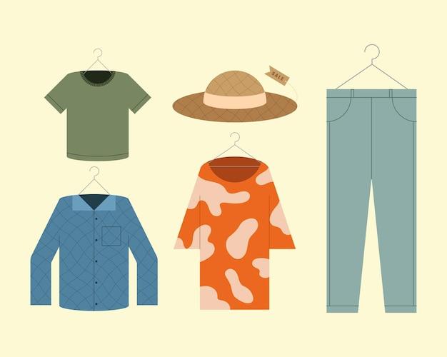 Cinque icone di stile di vestiti alla moda Vettore Premium