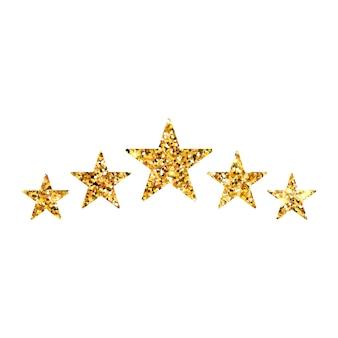 Recensione di valutazione del prodotto da parte del cliente con cinque stelle d'oro