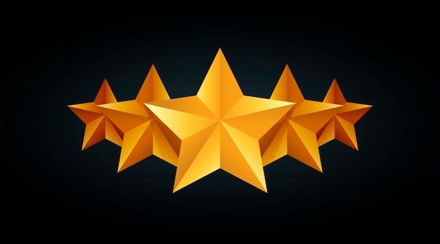 Cinque stelle d'oro di valutazione illustrazione in grigio sfondo nero.