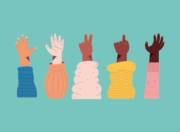 Cinque icone interrazziali con la mano sinistra in alto