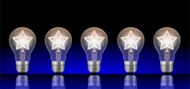 Cinque lampadine con stelle illuminate. classifica o valutazione del concetto di immagine