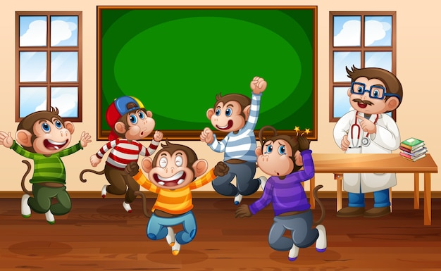 Cinque scimmiette saltano in classe con un dottore Vettore Premium