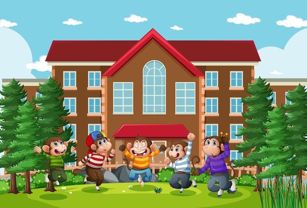 Cinque scimmiette che saltano nella scena della scuola del parco