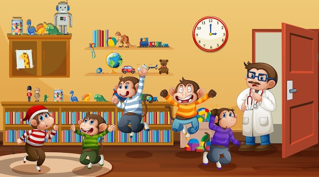 Cinque scimmiette saltano nella scena della stanza con un dottore